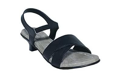Leatherwood 1 Cross Strap Kitten Heels Sandals Black