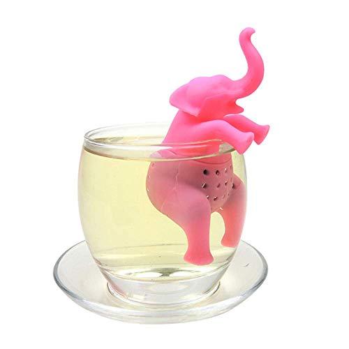 Crystallly Food Silicone Cute Funny Tea Strainer Tea Filter (Elephant Pink) Estilo...