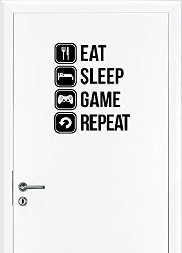 Eat Sleep Gaming Wandtattoo Tür Sticker Game Controller Wand Aufkleber Fun Decal