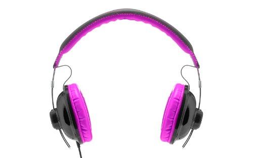 Image of Vieta VHP-YO300PL Over Ear Surround-Kopfhörer Stereo Kopfhörer mit ultraweicher Leder-Polsterung (Polster an Ohr-und Bügel, Größe verstellbar, Kopfhörer mit Kabel) schwarz-pink