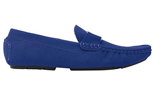Santimon Mocassini Scarpe Barca Da Uomo Moda Slip On Casuale Scarpe con Oro Fibbia Blu scuro