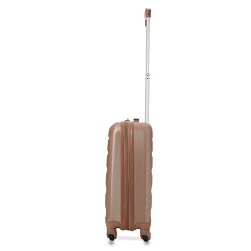 Aerolite Leichtgewicht ABS Hartschale 4 Rollen Handgepäck Trolley Koffer Bordgepäck Kabinentrolley Reisekoffer Gepäck, Genehmigt für Ryanair, easyjet und viele mehr 2 Teilig (Roségold) - 5