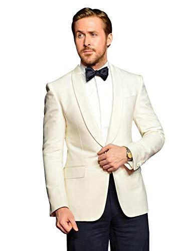 YZHEN Herren Männer Slim Fit 2 Stück Schal Revers Anzug One Button Blazer Tux Weste & Hose