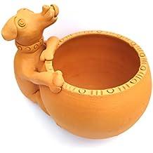 Ramgarh Clay Pottery Clay Terracotta Planter for Indoor Plants/Home Décor/Garden Décor (11.5 cm x 11 cm, Brown)
