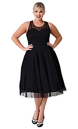 KILOLONE Damen Plus Size Elegant Kleider Spitzenkleid Cocktailkleid Rockabilly V-Ausschnitt Faltenrock -