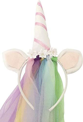 Diadema de unicornio con velo de arco iris, color blanco y rosa