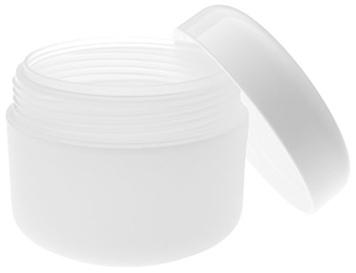 Pot de PP 50 ml, à double paroi, semi-transparent, avec couvercle en plastique blanc, 10 pièces