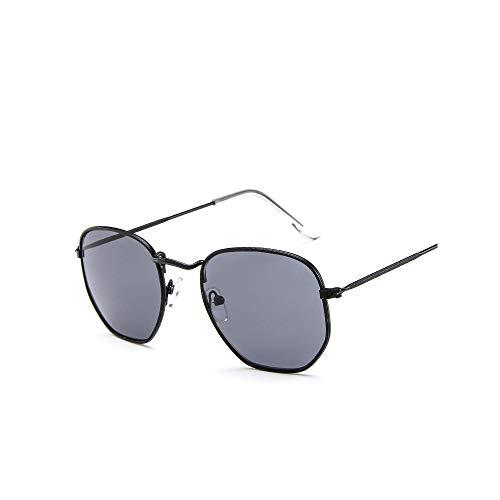 WJFDSGYG Mode Sonnenbrillen Frauen Designer Kleinen Rahmen Polygon Klare Linse Sonnenbrille Männer Sonnenbrille Hexagon Metallrahmen
