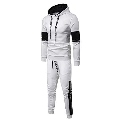 Aiserkly Herren Jogginganzug Trainingsanzug Sportanzug Fußball Sporthose Hoodie Hose für Gym Warm Tracksuit Herbst Winter Streatwear Weiß L