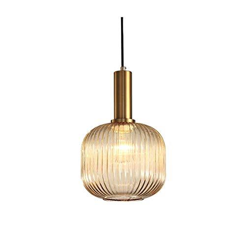 HUAQIMEI Wohnzimmerlampe Deckenleuchte, Glaspendelleuchte Schatten, Retro-Stil Glasschirm Hängelampe, E27 Birne, Amber -