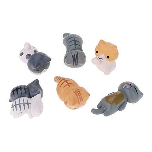 DDG EDMMS 6 Stück Miniatur Authentisches Katze Figuren Spielzeug -4,5 * 2 * 1,2 cm - für Kinder, Jungen, Mädchen, Katzen-Liebhaber, Play, Dekoration, Geschenke und Party Favors - Miniatur-katzen