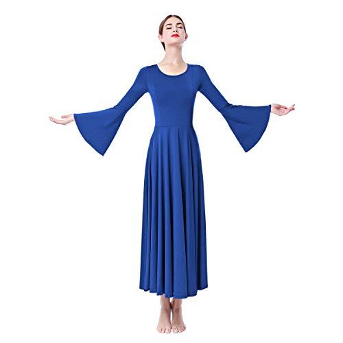 OBEEII Damen Liturgisch Tanzkleid Lange Ärmel Elastisch Tanzstrumpfhose Frauen Elegant Kirche Worship Tanzkleidung Ballett Jazz Lateinischer Tanz Kirche Chor Beten Gebet Kostüm Königsblau M (Show Chor Tanz Kostüm)