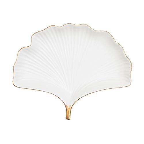 Gold Leaf Teller (ZALIANG Western Plate Schmuck Aufbewahrung Dekorativer Teller Home Display Teller Dekoration Gold Ginkgo Leaf Keramikteller (Color : White, Size : S))