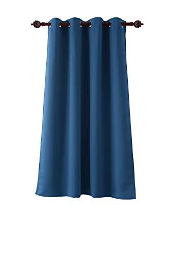 Deconovo tenda oscurante termica isolante con occhielli 100% poliestere 132x160 cm blu acciaio un pannello