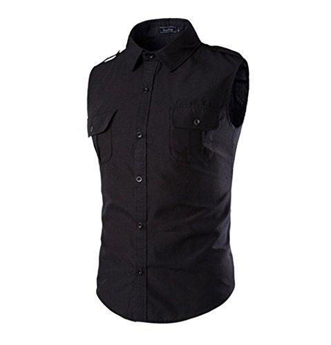 DaDag-Einfarbige Herren Hemd Slim Fit Ärmelloshemd Freizeithemd SchwarzButton-down (2XL, Schwarz) (Seide Shirts Bowling)