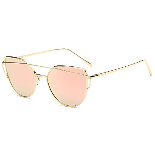 SojoS Moda Occhi di gatto Donna Occhiali da sole Cat Eye Mirrored Metal Frame Women Sunglasses SJ1001 With Oro Frame/Rosa Lens