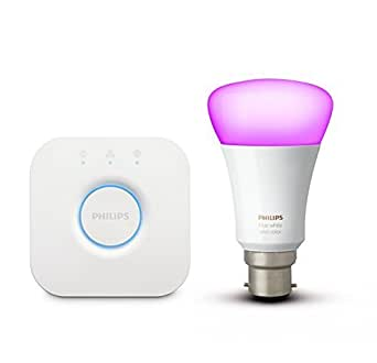 Philips Hue Mini Starter with 10W B22 Bulb (White & Color), Compatible with Amazon Alexa, Apple HomeKit, and the Google Assistant