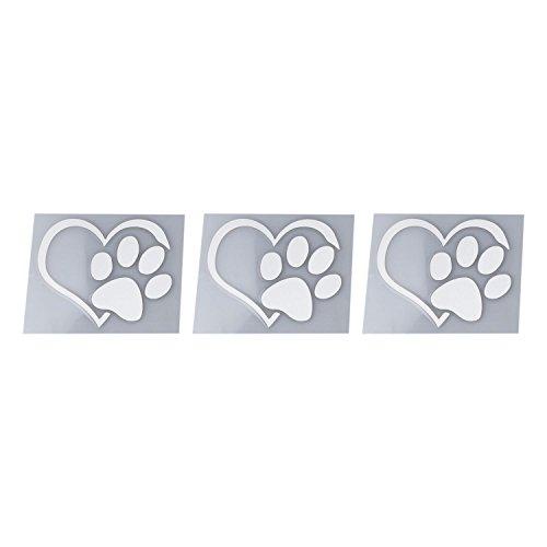 REFURBISHHOUSE 3 x Bello Stampa di Zampa di Cane Gatto Adesivo Riflettente per Auto Adesivo per finestre Logo Impronta, Bianca