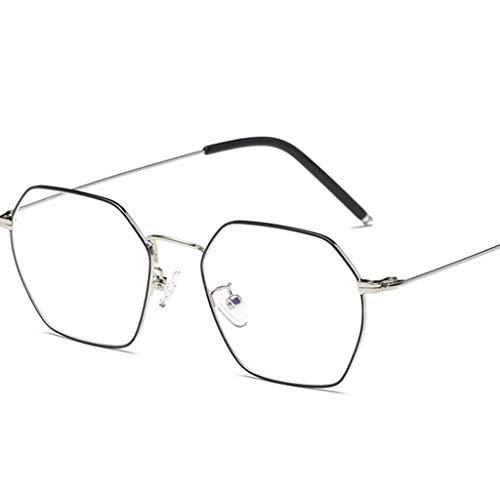 ZYY Anti Blue Light Brille , Unisex Runde Metallrahmen Klare Linse Vintage Retro Geek Mode Brille Specs (Farbe : B)
