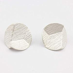 EISROSE Damen-Ohrring Scheibe 925er Sterling-Silber Brautschmuck Designer-Schmuck handgefertigt