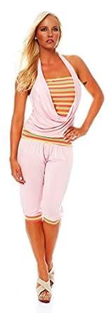 10485 Fashion4Young Damen Neckholder Jumpsuit Overall Hosenanzug Caprihose Hose Shorts Catsuit (34/36, Rosa)