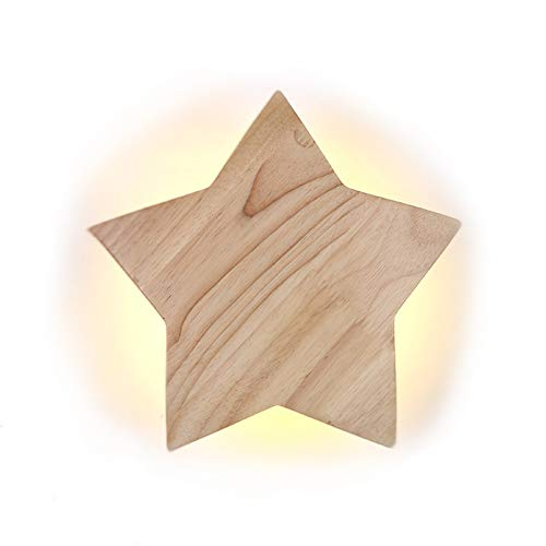LED Holz Star Wandleuchte Modern Kreativ Karikatur Wandlampe Nachtlicht Nachttischlampen für Baby Kinder Schlafzimmer Wohnzimmer Flur Loft Wall Lampe Deckenleuchte 3000K warm Licht, D22CM