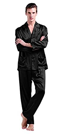LILYSILK 100 Pure Silk Pyjamas for Men Set Long Sleepwear Pyjama Set ... 233743b68