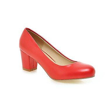pwne Donna Comfort Tacchi Pu Primavera Estate Office &Amp; Carriera Abito Casual Chunky Heel Arrossendo Rosa Rosso Blu Beige Nero 2A-2 3/4In US5.5 / EU36 / UK3.5 / CN35
