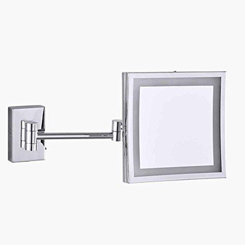 Miroirs De Cuivre De Salle De Bains De Pliage Télescopique Pliant Double-Face De Vanité De Grossissement LED 3X Grossissement (Couleur : Hidden Installation)