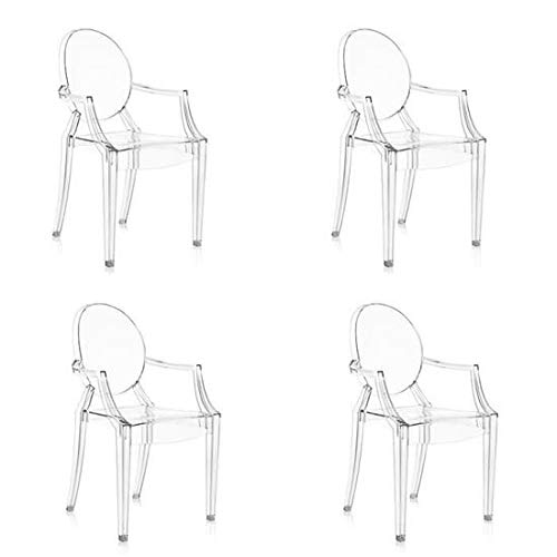 chairs4you Lot de 4 chaises Transparentes Fauteuil Cristal Inspires Louis Ghost sejour Salle a Manger Dressing Bureau