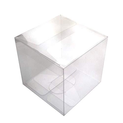 (Miji 25pcs 4x4x4cm Clear Plastic PVC Packing Box Transparent Candy Apple Box for Gift Wedding Party)