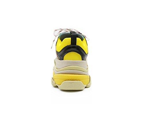 Las Zapatillas De Deporte De Las Mujeres De Yrps Se Han Incrementado Al Final De Las Zapatillas De Deporte De Cuero Ocasionales Amarillas Y Verdes