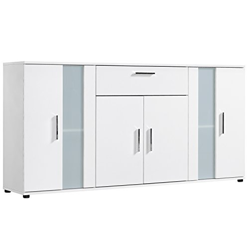 qovi9 fabriqs 'Der Koloss' Kommode, Sideboard, Highboard, Anrichte, Schrank in Weiß mit Glaselement, 167x82x34 cm (B/H/T), Made IN Germany!