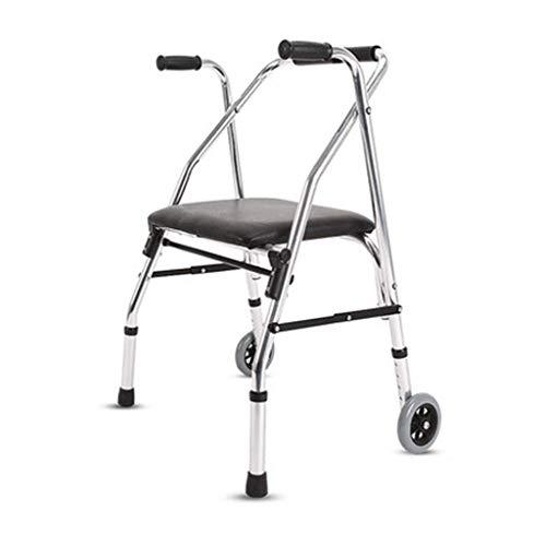 Folding Walker YX Klappbarer Gehwagen, Leichter Rollwagen mit Zwei Rädern und gepolstertem Sitz, ergonomischer Griff, höhenverstellbar, Aluminium (2-rädern Walker Folding)