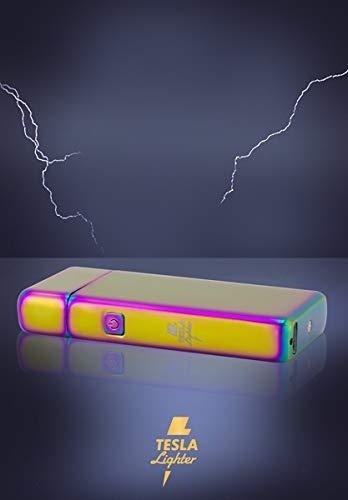 Tesla de Lighter T05| Luz Arco Mechero, Plasma Single de Arc electrónico, recargable, cargador con corriente por USB, sin gas y gasolina, con cable de carga, en paquete de regalo, Arco Iris