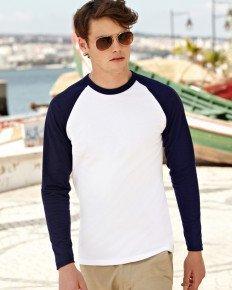 Fruit Of The Loom Long Sleeve Baseball T-shirt White/black S