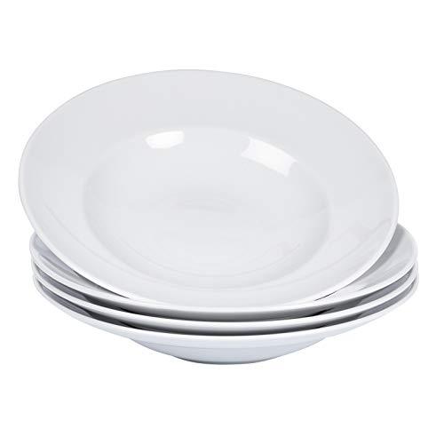 Esmeyer Pastateller Arezzo 4er Set aus Porzellan Patateller, weiß, 27 cm, 4-Einheiten