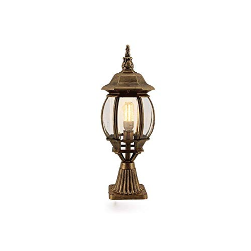 TQ Modeen 56Cm Kontinentale Aluminium-Bronze-Glas-Laterne LED Outdoor-Tischlampe Säule Leicht Aluminium IP54 Wasserdichte Villa Patio Park Garden Rasen Licht E27 Dekoration Beleuchtung,Brown -