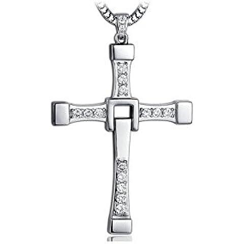 VICARA 925 Silver Cross collana Peandant con zirconi Unsex Silver Jewellery