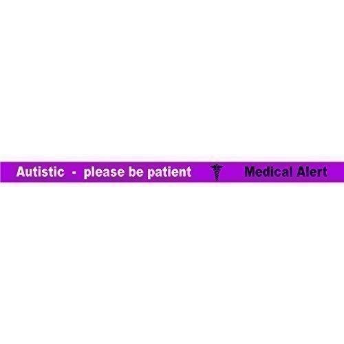 n patient ARMBAND (1 X LILA) 3 FARBEN Armband AUTISMUS Notfallausweis Neu - 100% Silikon ID-karte Notfall identität gummi permanent tinte Eingraviertem bänder (Farbe Für Autismus)