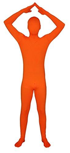 Unbekannt Orangener Ganzkörperanzug mit Reißverschluss im Schritt! Ganzkörperkostüm/Gruppenkostüm für Karneval in Orange Größe (Ganzkörper Morphsuit)