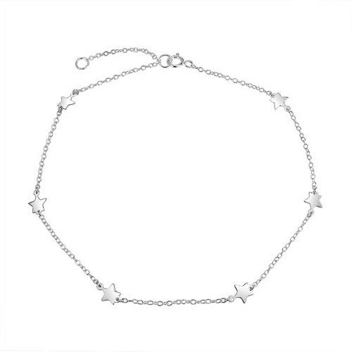 Patriotische Star Station Kettenglied Fußkettchen Charm Armband Für Damen Silber Einstellbar 9-10 Zoll -