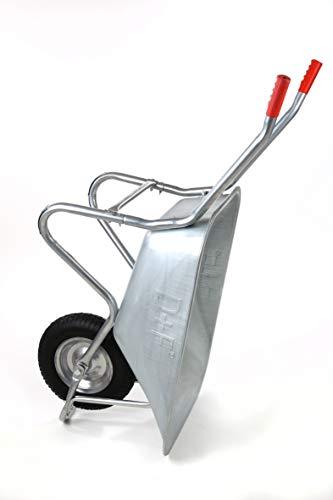 Schubkarre 200Kg für Garten, Bau und Stall mit Stahlfelge, Vollverzinkt, Pulverbeschichtet - 4