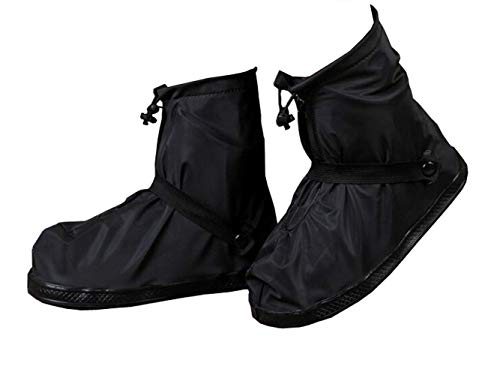1Pair Black PVC Waterproof Reusable Foldable Ankle Shoe Cover with Thickened Non-slip Sole Adjustable Drawstring Zipper Elastic Belt Fastener Overshoes Rain Snow Boots Galoshes for Outdoor