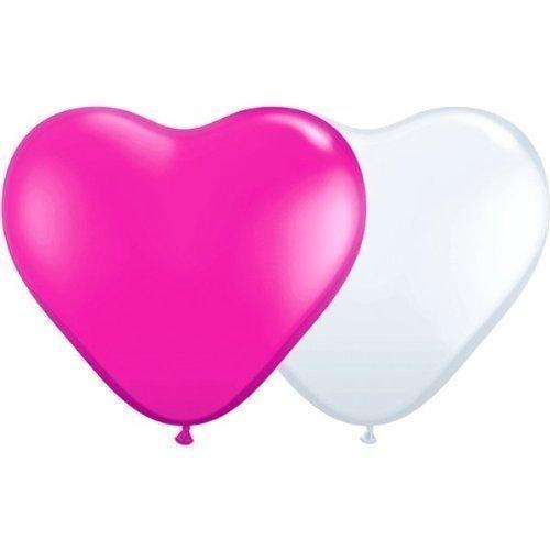 25 pinke und 25 weiße Herzballons Ø 25 cm - partydiscount24 - Herz Luftballons - Herzluftballons