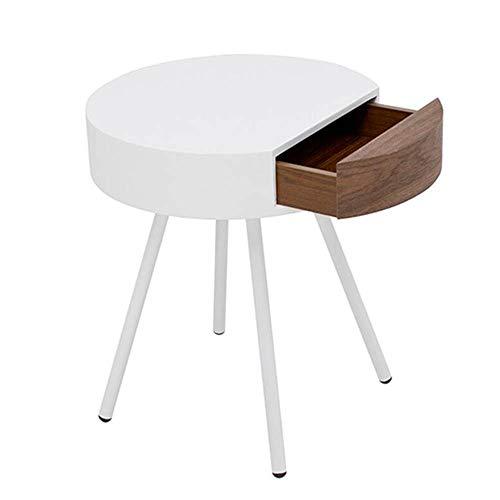 Tables FEI - Bureau d'ordinateur de Chevet Moderne de d'appoint de canapé de d'extrémité avec tiroir de Rangement Gris/Noir pour Tous Les postes de Travail (Couleur : Blanc)