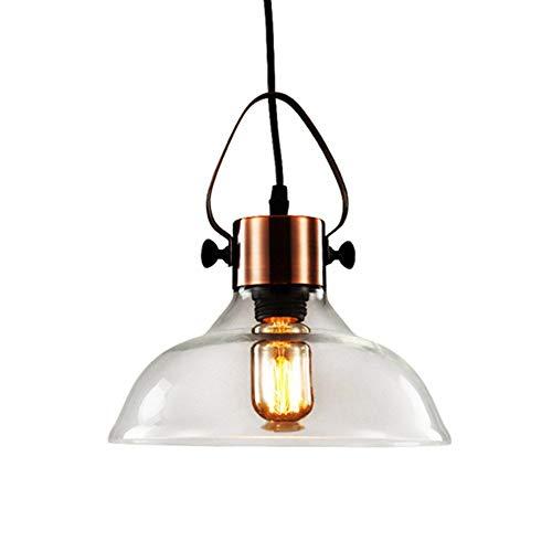 Pendelleuchte Industrial Vintage Metall \u0026 Glas Schüssel Schatten 1 Lichter Deckenleuchte-Antik Kupfer Finish - Glas Schüssel-schatten