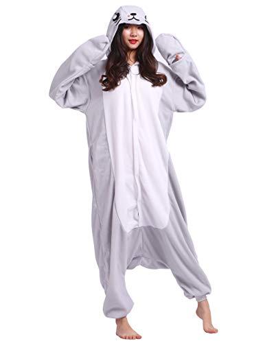 Robbe Kostüm - Jumpsuit Onesie Tier Karton Kigurumi Fasching Halloween Kostüm Lounge Sleepsuit Cosplay Overall Pyjama Schlafanzug Erwachsene Unisex Grau Seelöwe for Höhe 140-187CM