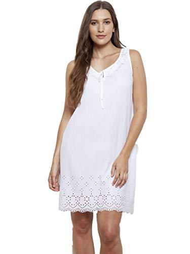 Cotton Real Nachthemd aus 100% Baumwolle, viktorianischer Stil, ärmellos, Weiß Gr. 40/42 DE - Medium, weiß