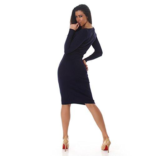 Damen Basic Langarm-Kleid Rundhalsausschnitt I Longsleeve I Strick-Kleid Übergang I verschiedene Farben I Einheitsgröße (32-38) Marine